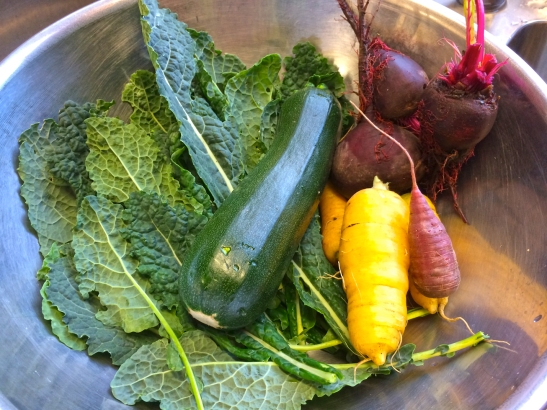 Tuscan kale, heirloom carrots, zucchini and beetroot
