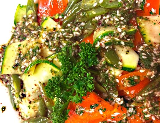 Mandolin sliced vegetables.