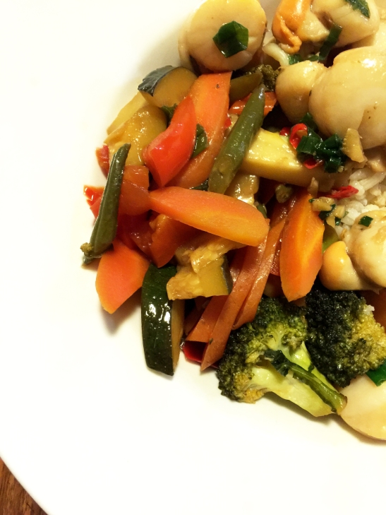 Stir fry scallops with fresh garden vegetables